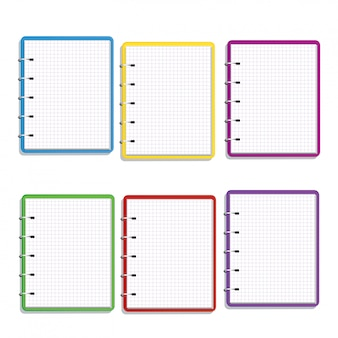 Set of realistic colorful spiral notebook with square grid blank pages isolated on white