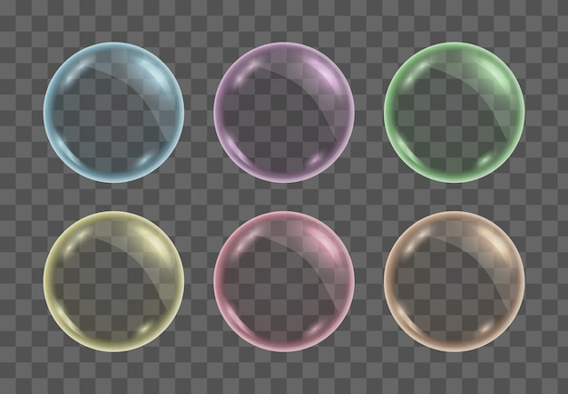 Set of realistic colorful transparent soap water bubbles, balls or spheres.