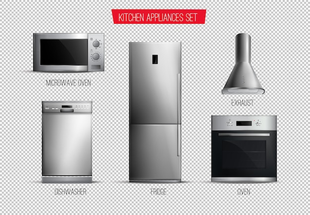 Set of realistic contemporary kitchen appliances front view isolated on transparent