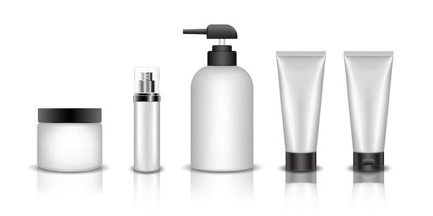 Set of realistic cosmetic bottle mockup