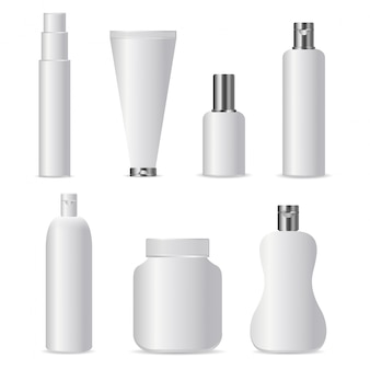 Set of realistic  cosmetic bottles for branding and covering on the white background. realistic white blank template mock up for  and business identity.