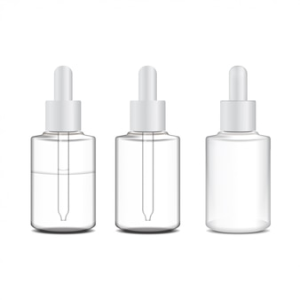 Set of realistic cosmetic container, tube for ointment.  bottle on white background. gel, balsam, for  label