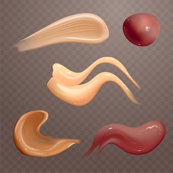 Set of realistic cosmetic cream smears skincare product of different body colors lotion smooth smear isolated vector texture on transparent background