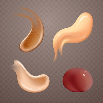 Set of realistic cosmetic cream smears skincare product of different body colors lotion smooth smear...