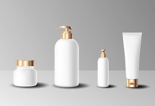 Set of realistic cosmetic gold bottle