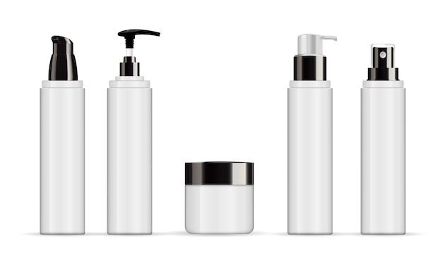 Set of realistic cosmetic white tube isolated on white