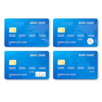 Set of realistic credit card template
