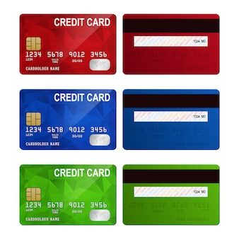 Set of realistic credit card two sides isolated on white background.