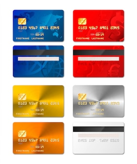 Set of realistic credit cards from both sides in different designs include gold and platinum on white