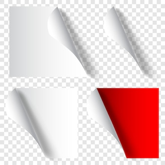 Set of realistic curled paper corners in white and red colors with shadows