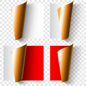 Set of realistic curled paper corners in white, red and golden colors with shadows
