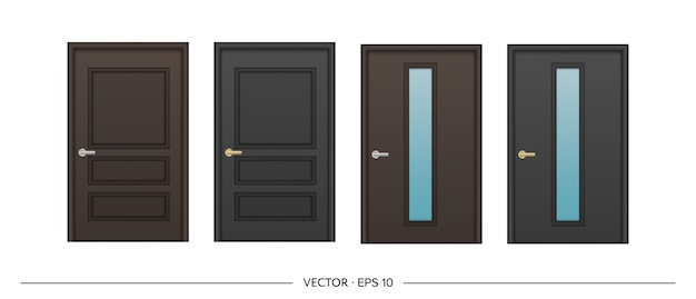 Set of   realistic dark doors isolated on white background. entrance door with glass insert.