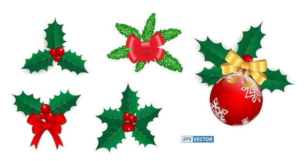 Set of realistic decorative christmas isolated or design element christmas theme or christmas ribbon