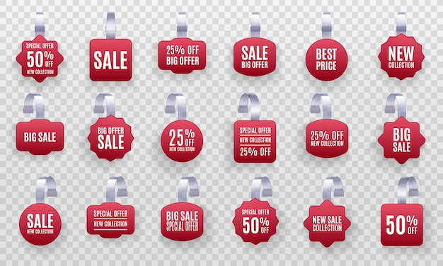 Set of realistic detailed 3d red wobbler promotion sale labels isolated on a transparent background. discount sticker, special offer, plastic price banner, label for your design.