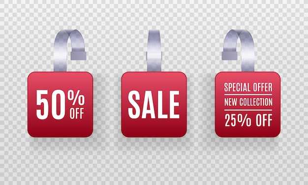 Set of realistic detailed 3d red wobbler promotion sale labels