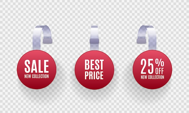 Set of realistic detailed  red wobbler promotion sale labels  on a transparent background.  discount sticker, special offer, plastic price banner, label for your .