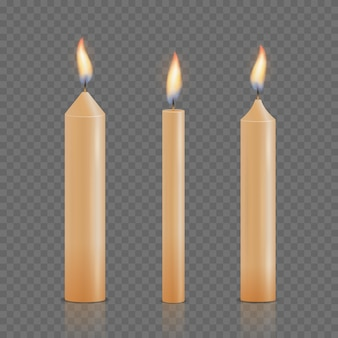Set of realistic different christmas, birthday, church and party glowing candles