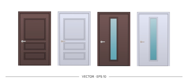Set of realistic doors isolated on white background. entrance door with glass insert.