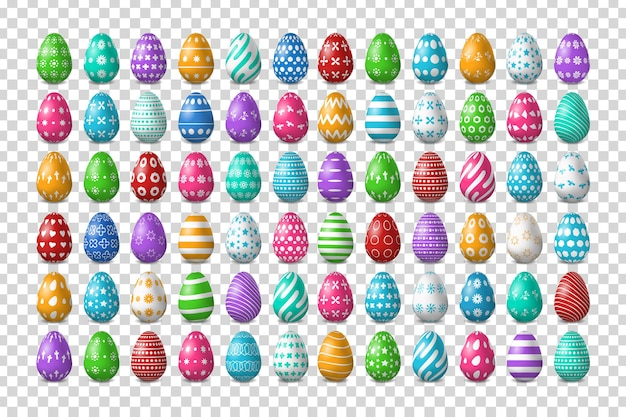 Set of realistic easter eggs design