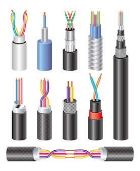 Set realistic electric industrial fiber optic cable and copper wire isolated