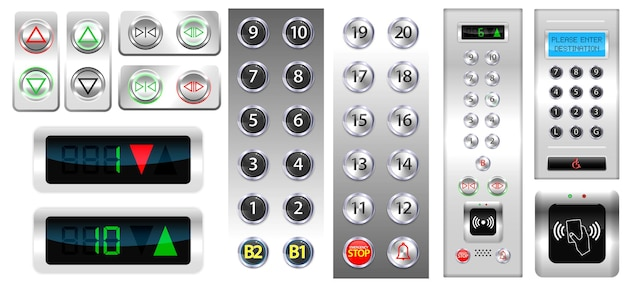 Set of realistic elevators buttons with chrome metal