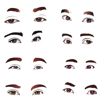 Set of realistic eyes vector