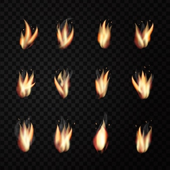 Set of realistic  fire flames on the transparent background for decoration.