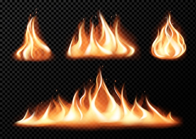 Set of realistic fire flames of various size with sparks on black  transparent background isolated vector illustration