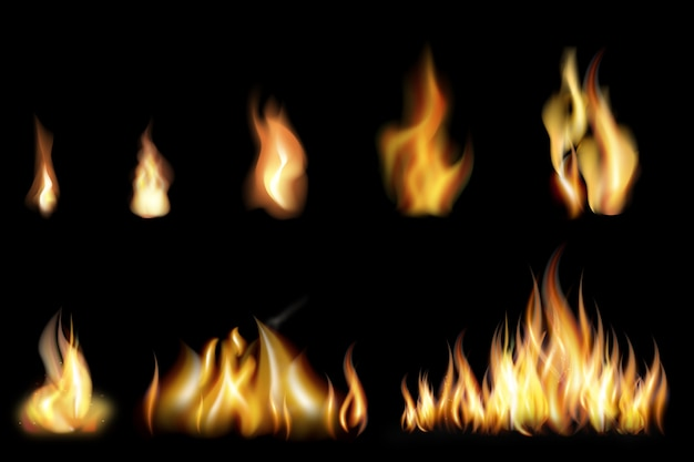 Set of realistic fire flames of various size