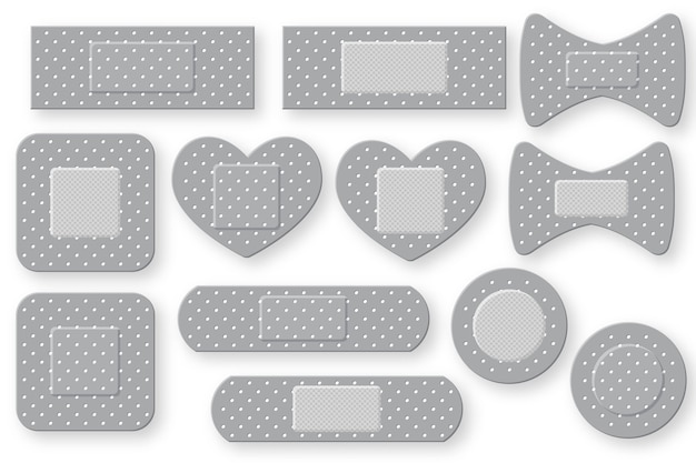 Set of realistic first aid band plaster strip.  elastic bandage patch.  isolated on white background.