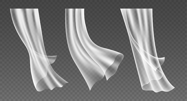 Set of realistic fluttering window curtains, translucent white cloths, soft lightweight clear material isolated on transparent background. 3d vector illustration