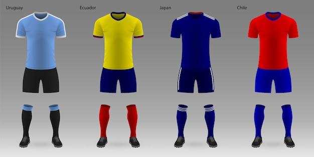 Set of realistic football kits