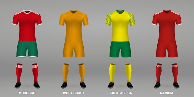 Set of realistic football kits,