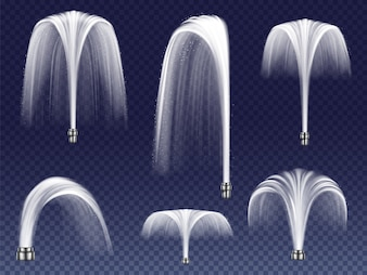 Set realistic fountains of various shapes. Large and small geysers, jets of falling water