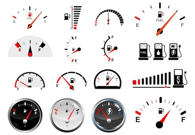 Set of realistic fuel gauge scales isolated