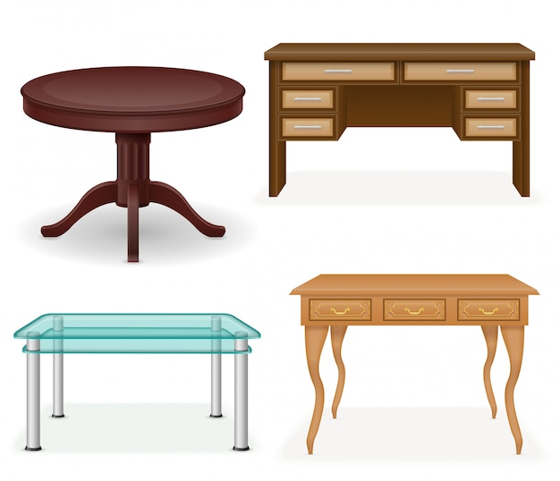 Set of realistic furniture table vector illustration