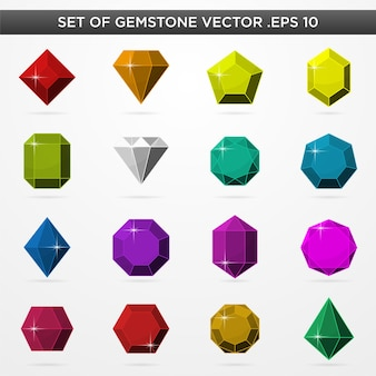 Set of realistic gamestone icons symbol