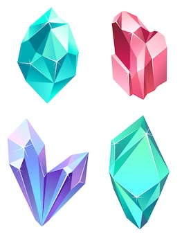 Set of realistic gems. beautiful crystals of different colors.