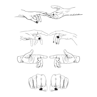 Set of realistic gestures hand shape. black ley stroke logo graphic art design isolated on white.