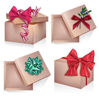 Set of  realistic gifts box for present on birthday isolated