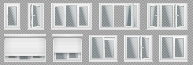 Set of realistic glass transparent plastic windows with window sills, sashes. white home, office windows, with different sections, roller blind, handle for adjustment. vector illustration.