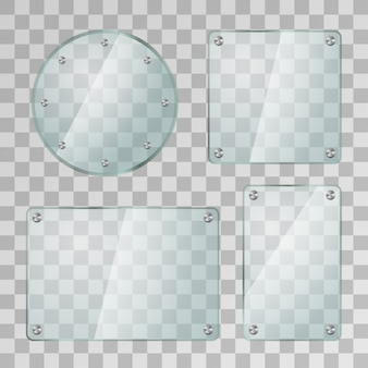 Set of realistic glossy glass plates in different shapes with metal screws on transparent background