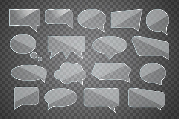 Set of realistic  glossy glass speech bubble for decoration and covering on the transparent background.