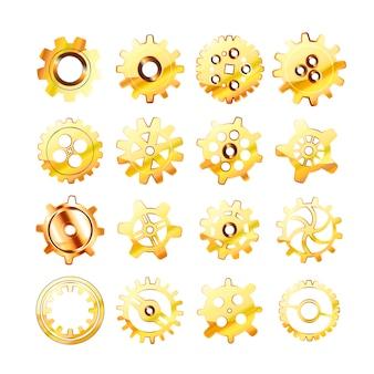 Set of realistic glossy golden cogwheels on white