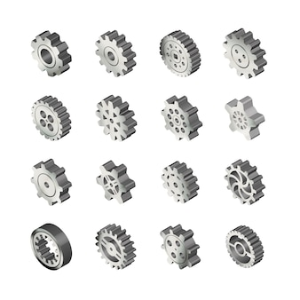 Set of realistic glossy metal gears in isometric view on white