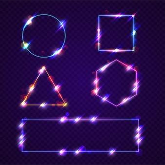 Set di cornici al neon incandescente realistiche
