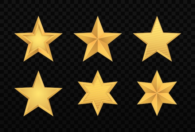 Set of realistic gold 3d star. glossy christmas yellow 3d star trophy icon.