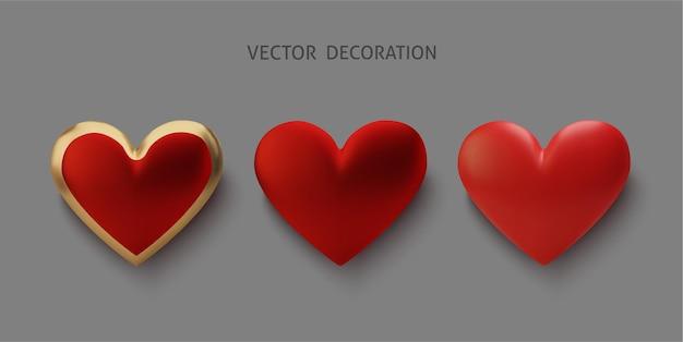 Установите реалистичное золото и красное сердце, изолированные на сером