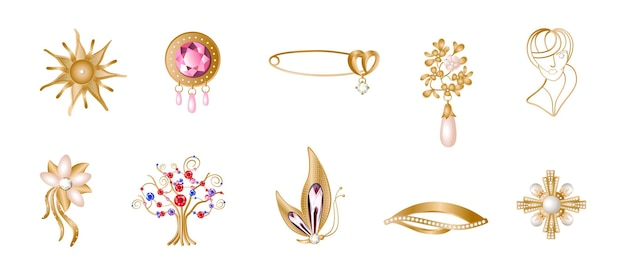 Set of realistic golden brooches