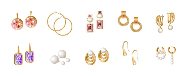 Set of realistic golden earrings. jewelry with precious stones.